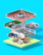 3D Modelling, C4D, low poly, mazagine cover, building