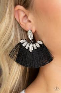 Formal Flair Black Earrings