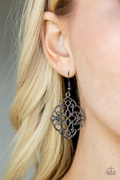 Garden Mandala - Black Earrings