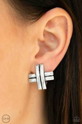 Couture crossover - Silver Clip On Earri...