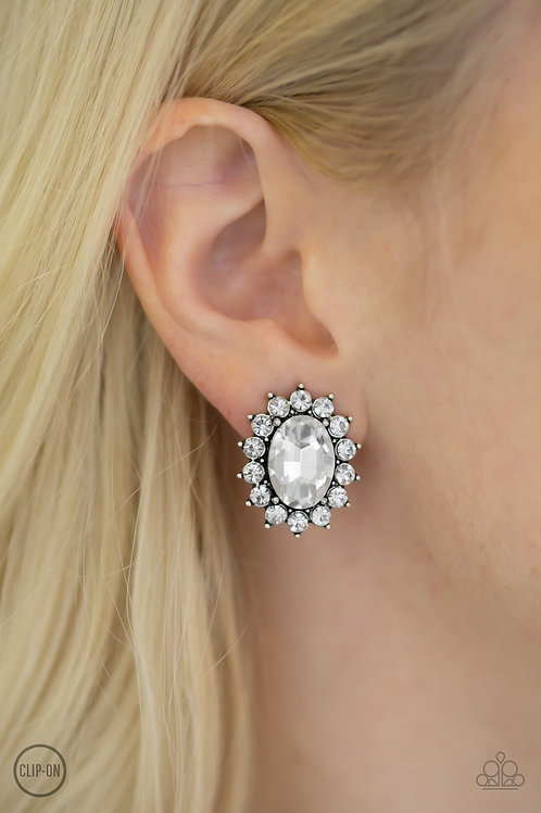 Gala Glamour White Clip On Earrings