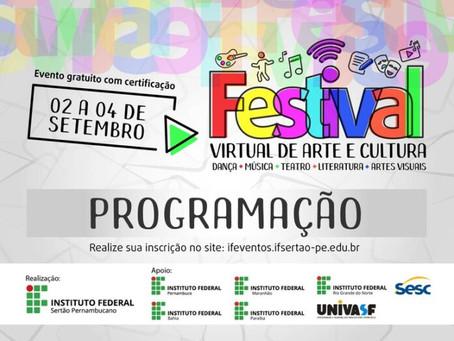 Festival Virtual de Arte e Cultura com inscrições gratuitas inicia nesta quarta
