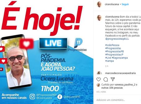 Cícero Lucena faz live nesta quinta-feira e expectativa é de anúncio da pré-candidatura