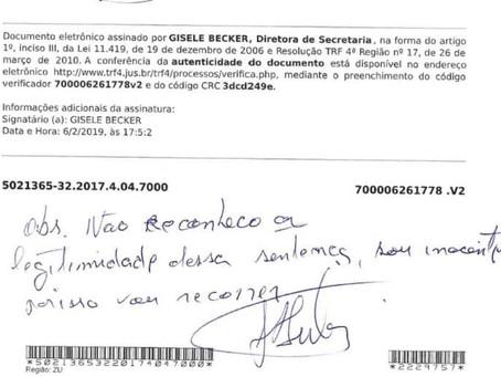 """""""Não reconheço essa sentença"""", escreve Lula em intimação"""