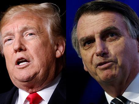 """Trump e Bolsonaro falam em trabalhar """"lado a lado"""", diz Casa Branca"""