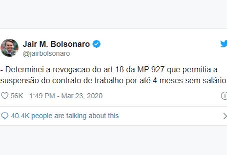 Bolsonaro recua e revoga artigo de MP que permitia suspensão de salário do trabalhador por 4 meses