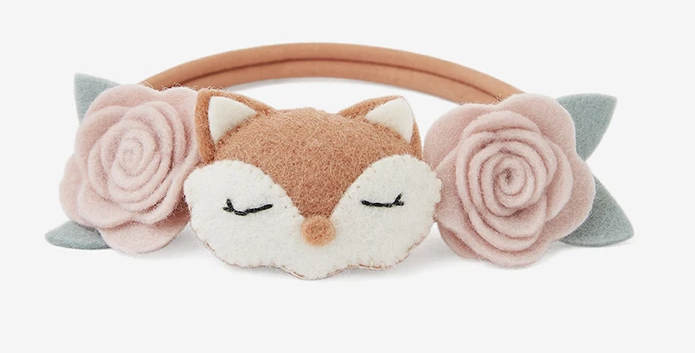 Baby Headband Fox Rose Felt Nylon