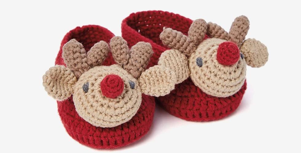 Baby Booties - Reindeer Hand Crocheted