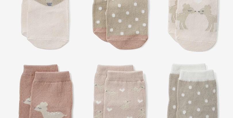Non Slip Fawn Sock Set 6pk