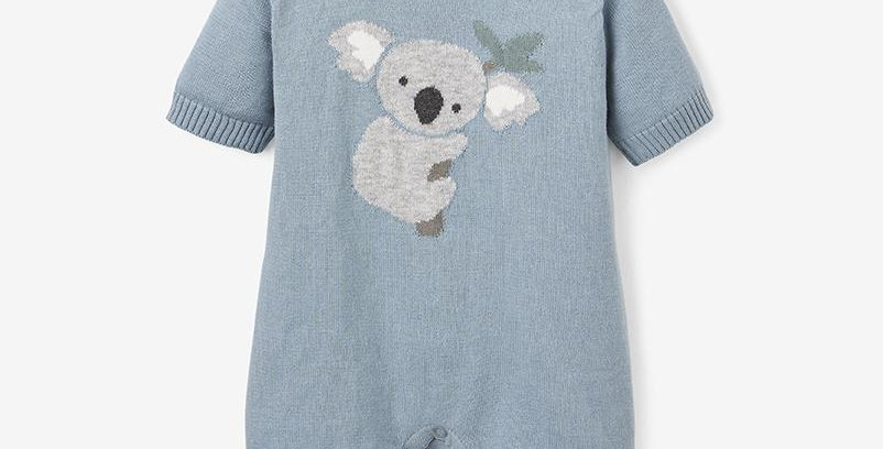 Koala Knit Shortall Baby Romper