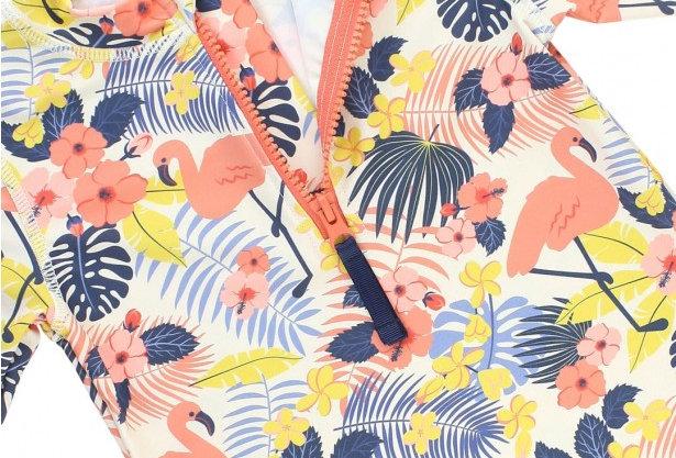 Flamingo Long Sleeve Zipper Rash Guard Bikini