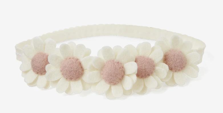 Flower Crown Felt Nylon Baby Headband - Cream
