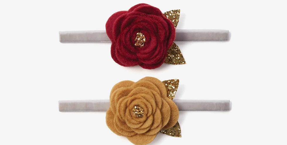 Baby Headbands Burgundy/Mustard Rose 2pk