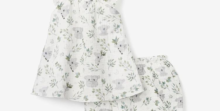 Koala Organic Muslin Flutter Sleeve Dress & Bloomer Set