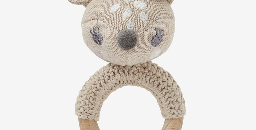 Knit Baby Ring Rattle - Fifi Fawn