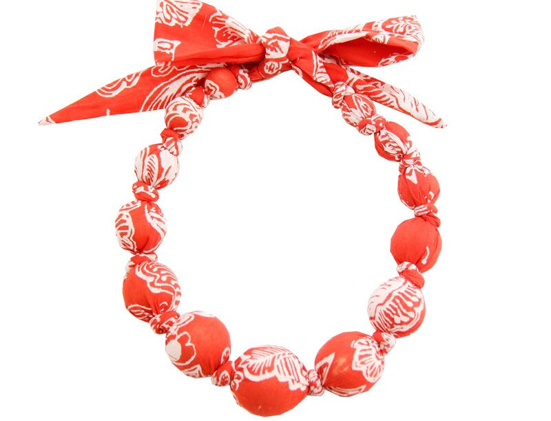 Red Print Wooden Necklace
