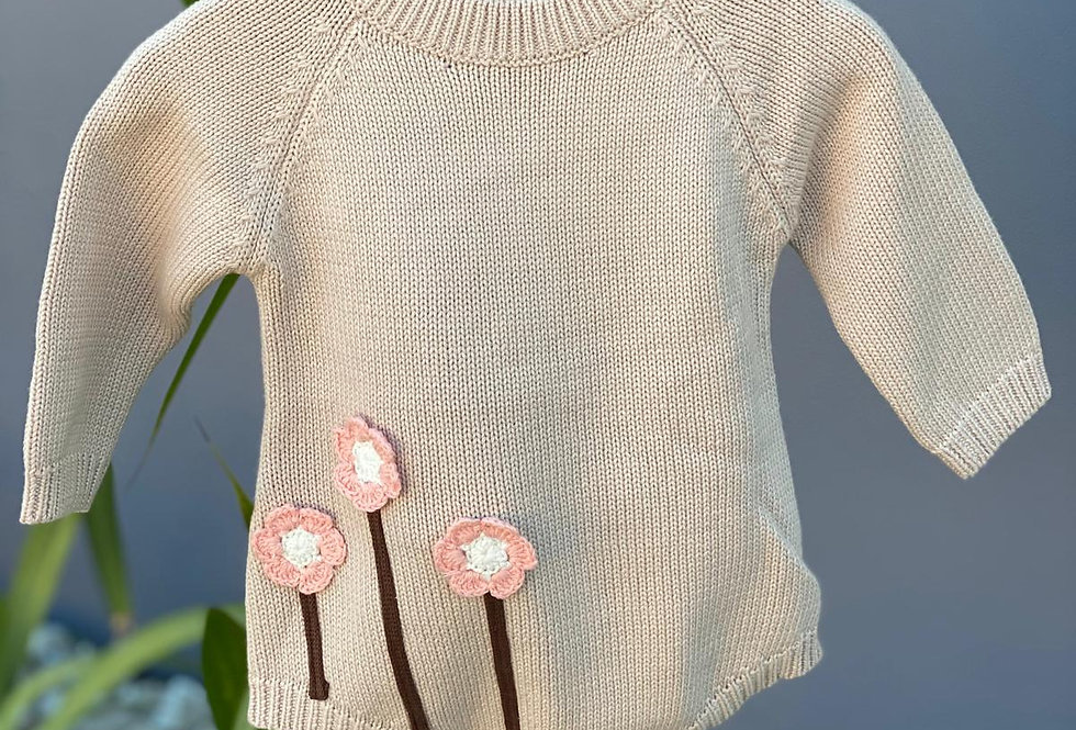 Sweet Flower Knitted Romper