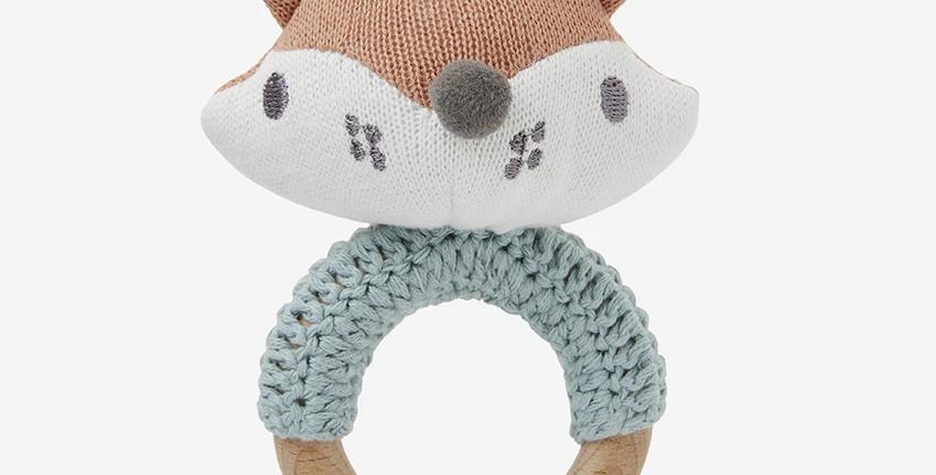 Knit Baby Ring Rattle - Felix Fox