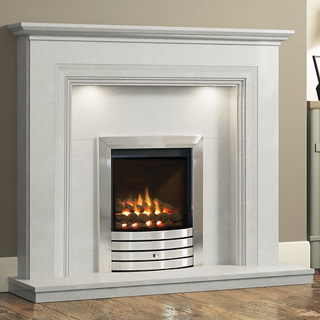 white fireplace surround with silver fire