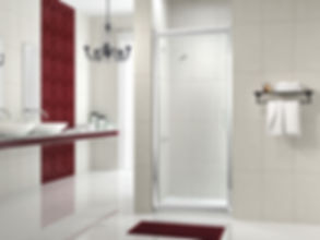 Series_8_shower and shower enclosure in red and white bathroom