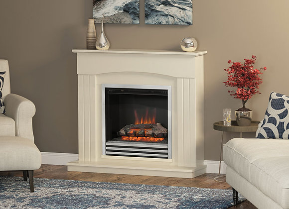 """44"""" Linmere Electric Fireplace in Almond White Stone Effect"""