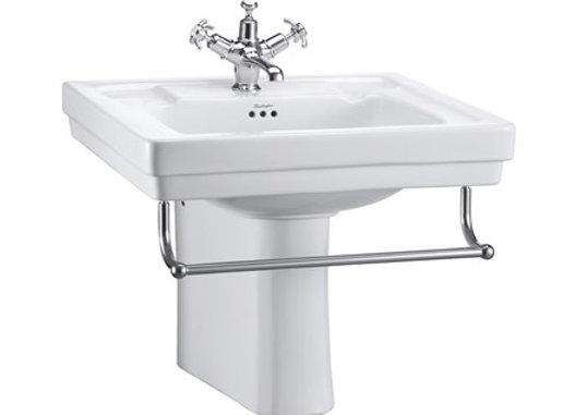 Contemporary Basin, Towel Rail & Semi Pedestal
