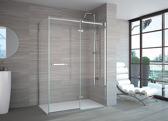 8 Series Frameless Hinge & Inline with a Side Panel