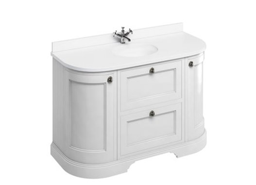 Freestanding 134 Curved Unit - White Worktop/Drawers/Integrated Basin