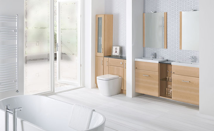 Montrose bathroom furniture suite in wood and white