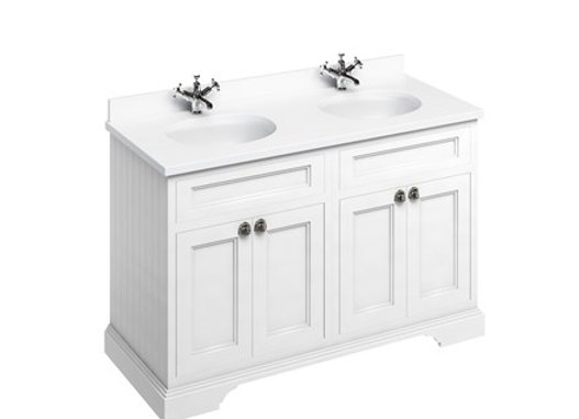 Freestanding 130 Unit - White Worktop/Doors/2 Integrated Basins