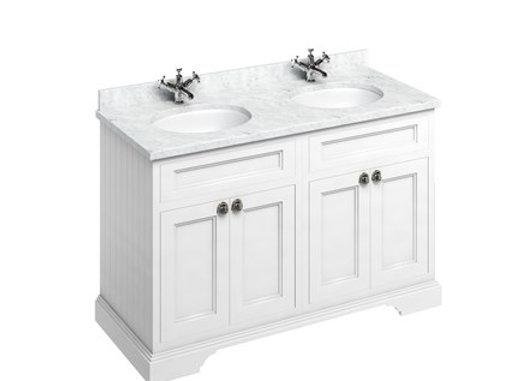 Freestanding 130 Unit - Carrara White Worktop/Doors/2Integrated Basins