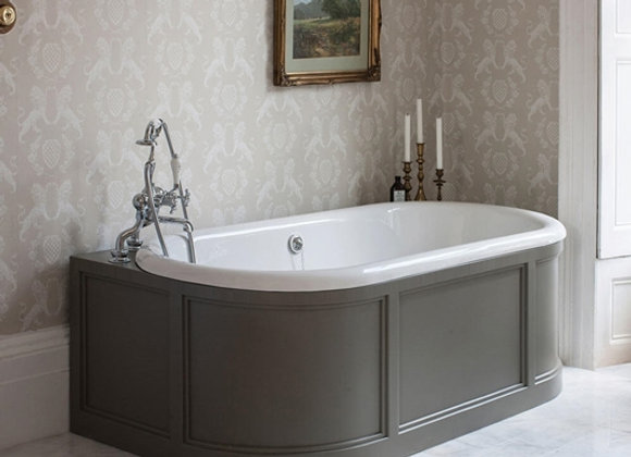 London Back To Wall Bath with Curved Surround