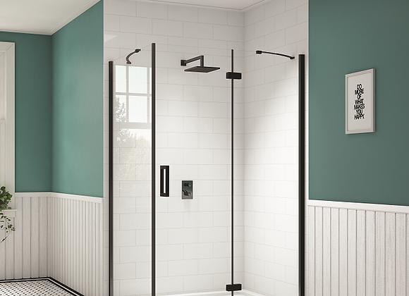 Black Hinge and Inline Shower Door