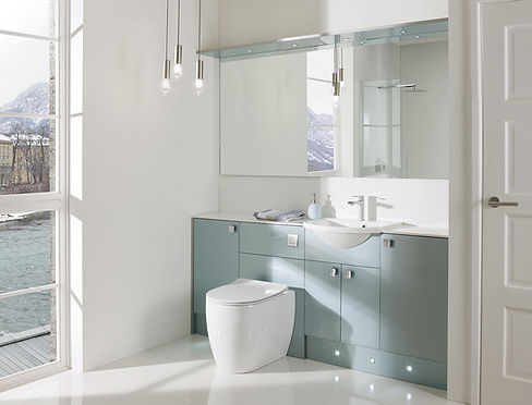 white and green accented bathroom furniture