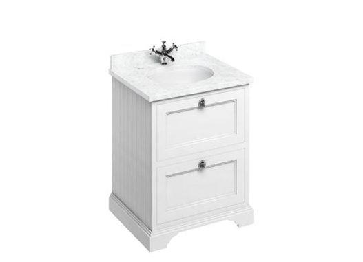 Freestanding 65 Unit - White Worktop/2 Drawers/Integrated Basin