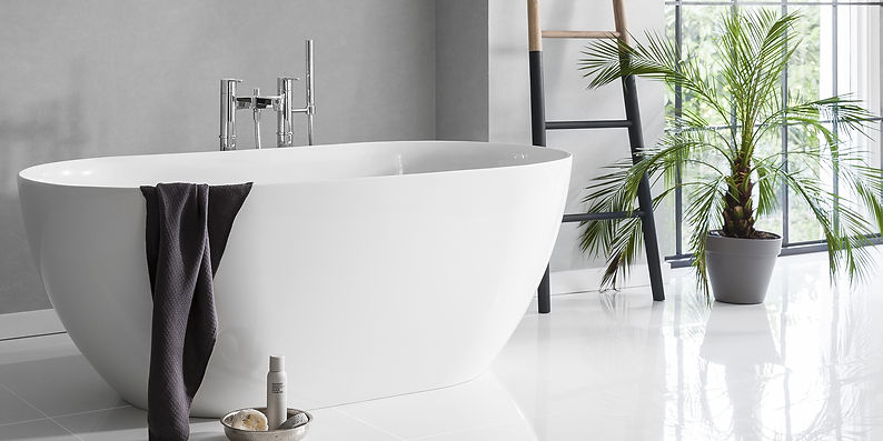 white freestanding bath with chrome fixtures and black accents bathroom