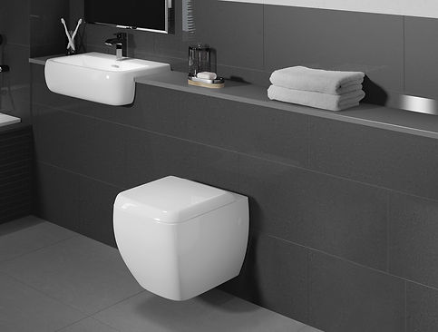 wall hanging white toilet in grey bathroom