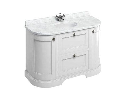 Freestanding 134 Curved Unit - Carrara White Worktop/Drawers/Integrated Basin