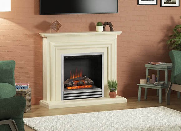 """44"""" Carina Electric Fireplace in Ivory Finish"""