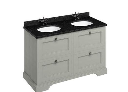Freestanding 130 Unit - Black Granite Worktop/Drawers/2 Integrated Basins