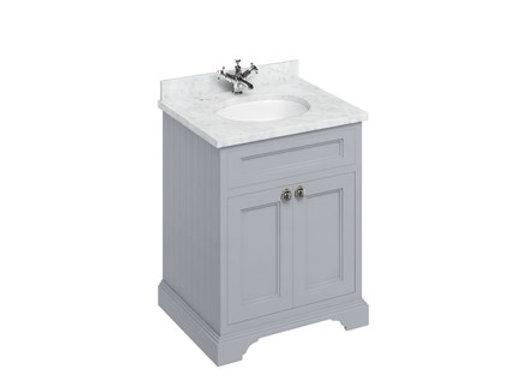 Freestanding 65 Unit - White Worktop/2 Doors/Integrated Basin