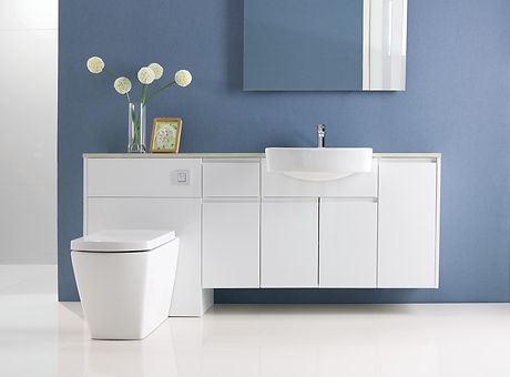 White bathroom furniture with blue wall