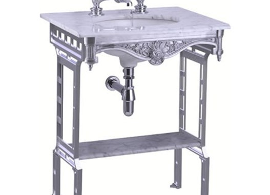 Carrara marble top & basin with brushed aluminium washstand