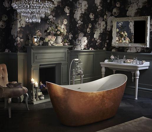 luxury bathroom with dark wallpaper and copper freestanding bath