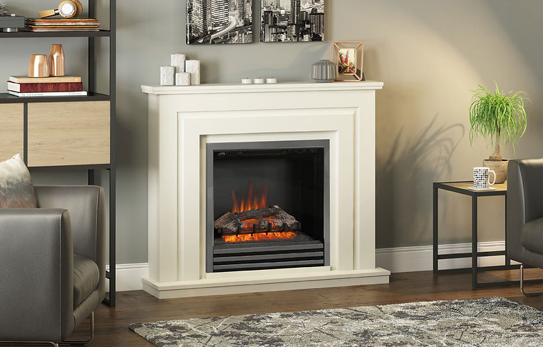 Whitham 48 electric fireplace in soft wh