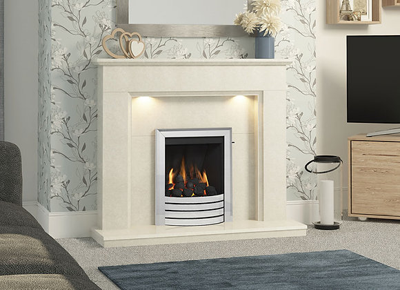 """48"""" or 52"""" Madalyn Surround in White Micro Marble"""