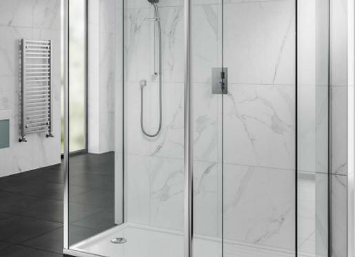 2 Shower Walls, Front Panel- Hinged Deflector Panel-Corner Profile