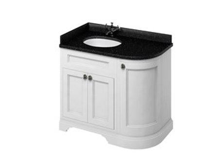 Freestanding 100 LH Curved Corner Unit - Black Granite Worktop/Integrated Basin