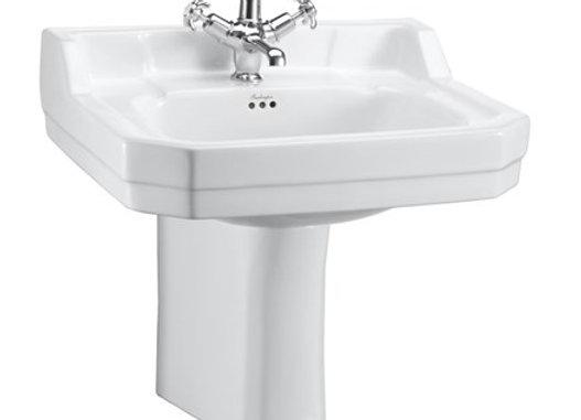 Edwardian 56cm Basin & Semi Pedestal