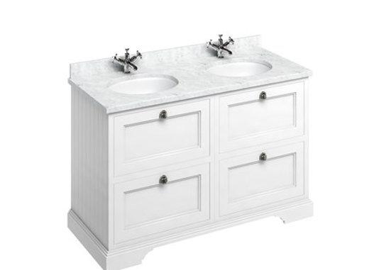 Freestanding 130 Unit - White Worktop/Drawers/2 Integrated Basins